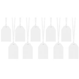 10 étiquettes drapeaux blanches ruban blanc