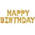Ballons Lettres Happy Birthday Doré Brillant