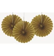 3 Mini Rosaces Dorées 15cm Eventail de Fête