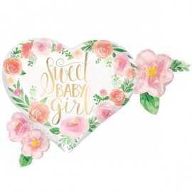 Ballon XXL Coeur Sweet Baby Girl Motifs Liberty Fleurs Roses Vintage