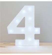 Lumière Chiffre Led Chiffre 4 Blanche Quatrième Anniversaire