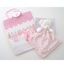 Doudou plat Ourson rose avec attache tétine