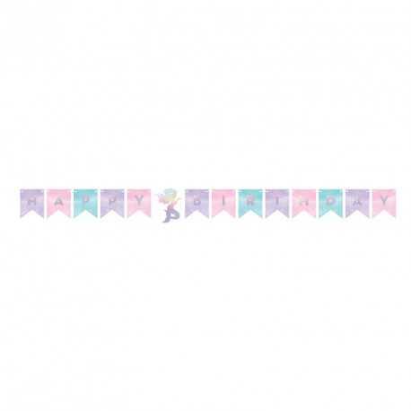 Banderole à Fanions Anniversaire Petite Sirène Holographique - Anniversaire et fête