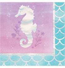 Serviettes Cocktail Hippocampe Petite Sirène Holographique - Anniversaire