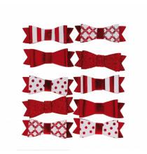 10 Petits Noeuds Autocollants Rouge et Blanc