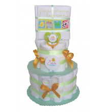 Gâteau de couches vert Repas de bébé en Pampers Cadeau naissance