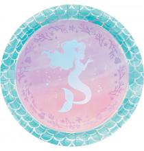 Grandes Assiettes Petite Sirène Holographique - Anniversaire