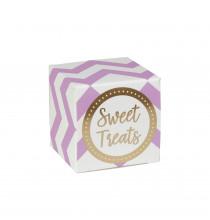 Boites Cadeaux Sweet Treats Chevron Parme & Doré - Cadeaux Invités