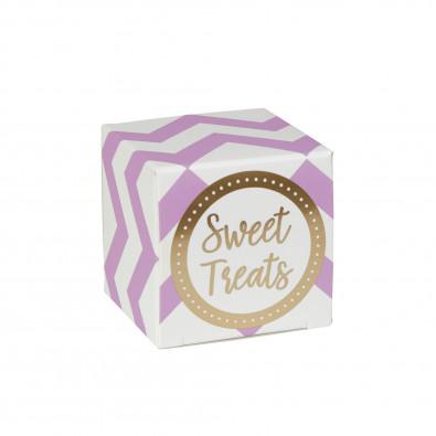 10 Boites Cadeaux Sweet Treats Chevron Parme & Doré - Cadeaux Invités
