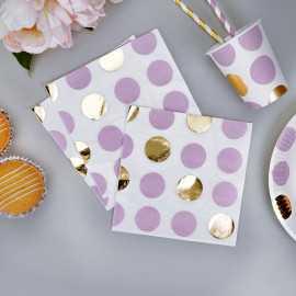 16 Serviettes en papier à pois Parme & Doré