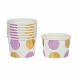 Pots de Présentation A Pois Parme & Doré - Vaisselle Jetable