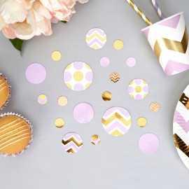 Confettis Pois et Chevron Parme & Doré - Cadeaux Invités