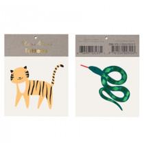 2 Tatouages Tigre Safari & Serpent Anniversaire Meri Meri