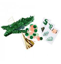 3 Mini Pinatas Remplies Forme Crocodile - Cadeaux Invités Anniversaire pour Enfant
