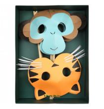 8 Masques Premium Tigre Safari & Singe Anniversaire Meri Meri