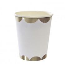 8 Gobelets Premium Blanc et Argent - Meri Meri