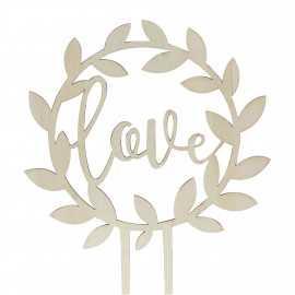 Topper Gâteau Pique en Bois Love