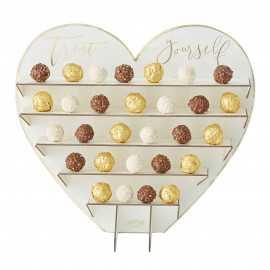 Grand Stand à Chocolats Coeur Blanc et Doré