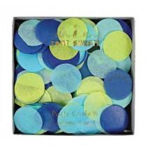 Boîte de confettis ronds bleu et vert - Décoration de fête