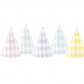 6 Chapeaux de Fête Pastel avec Losanges - Anniversaire pour Enfants
