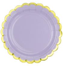 Petites Assiettes Parme Pastel & Doré - Vaisselle Jetable