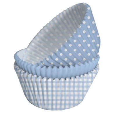 75 Moules Cup Cake Baby Shower Assortis Bleu