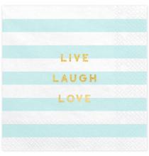 20 Serviettes Rayées Bleu Pastel - Anniversaire pour Enfants