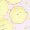 Mini Assiettes Always Be Positive Jaune Pastel & Doré - Candy Party