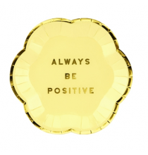 Mini Assiettes Always Be Positive Jaune Pastel & Doré - Candy Party