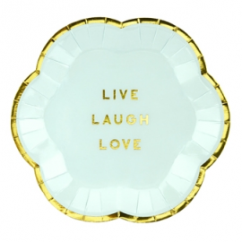 Mini Assiettes Live Laugh Love Bleu Pastel & Doré - Candy Party