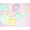 Mini Assiettes Live Laugh Love Bleu Pastel & Doré - Candy Party