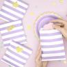 6 Sachets En Papier Rayés Parme & Blanc - Cadeaux Invités