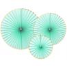 3 Grandes Rosaces Vert Mint Pastel & Doré - Anniversaire pour Enfants