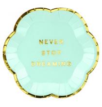 Mini Assiettes Never Stop Dreaming Vert Pastel & Doré - Candy Party