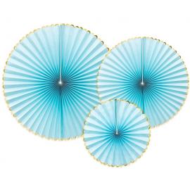 3 Grandes Rosaces Bleu Pastel & Doré - Anniversaire pour Enfants