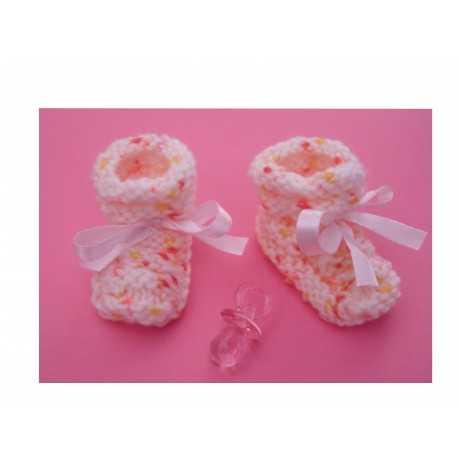 Mini chaussons roses chinés décoratifs