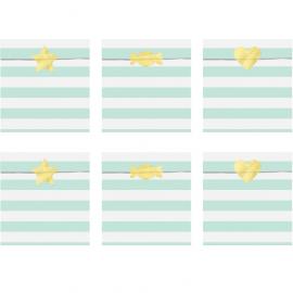 6 Sachets En Papier Rayés Vert Pastel Mint & Blanc - Cadeaux Invités
