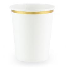 6 Gobelets en Papier Blanc et Doré