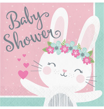 Grandes Serviettes Baby Shower Lapine Rose et Mint - Fille
