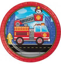 Grandes Assiettes Anniversaire Camion Pompier
