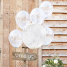 5 Ballons Confettis Blanc - Décoration de fête