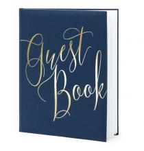 Livre d'or - Guest Book - Bleu marine et doré