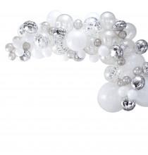 Kit pour Guirlande de Ballons Organiques - Blanc & Argent Décoration