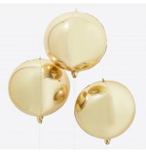 3 Grands Ballons Miroir Doré - Décoration Premium Orb
