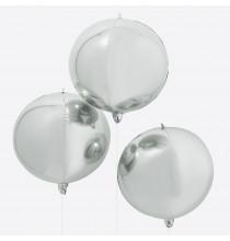 3 Grands Ballons Miroir Argent - Décoration Premium Orb