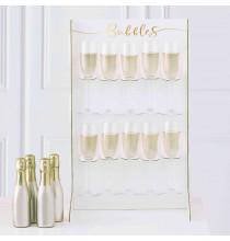 Stand à Flutes de Champagne - Blanc et Doré