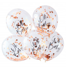 5 Ballons Confetttis Rose Gold Oh Baby