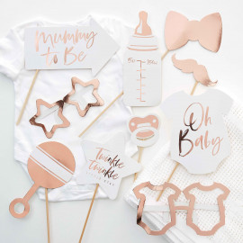 "Kit Photobooth - Premium ""Oh Baby"" Rose Gold"