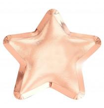 Grandes Assiettes Etoile Rose Gold Cuivré - Vaisselle Jetable Premium