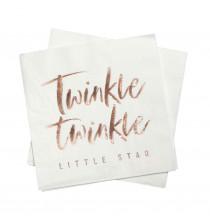 Grandes Serviettes Twinkle Twinkle Little Star Rose Gold Cuivré - Vaisselle Jetable Premium